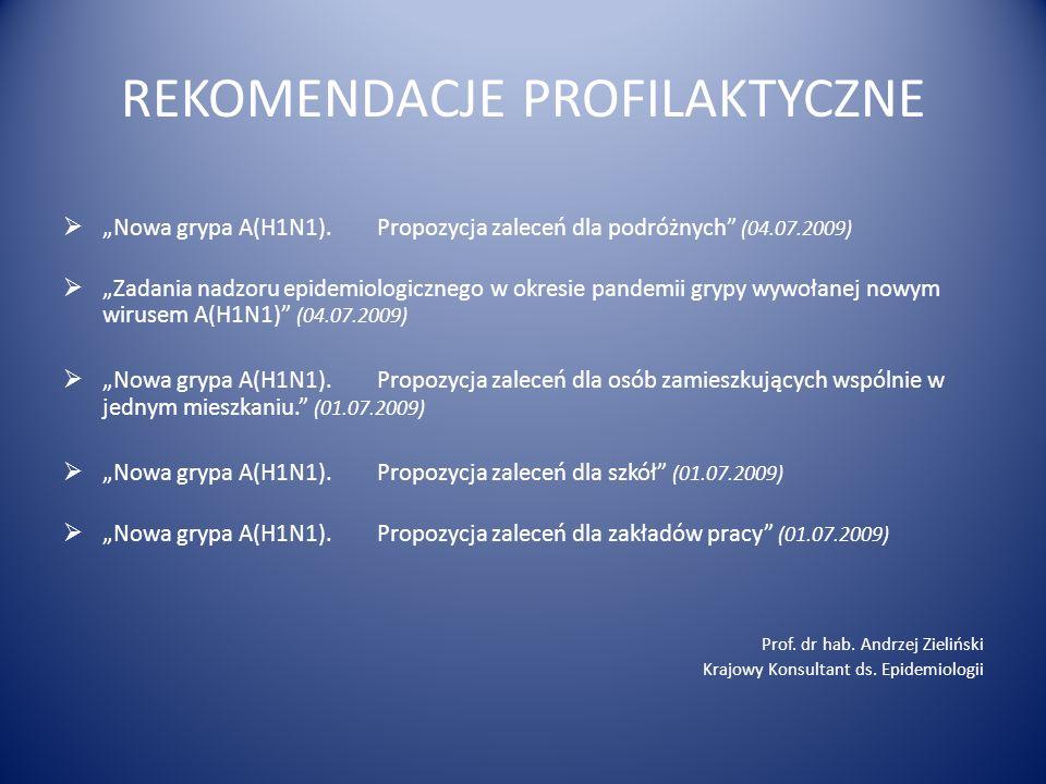 REKOMENDACJE PROFILAKTYCZNE Nowa grypa A(H1N1).Propozycja zaleceń dla podróżnych (04.07.2009) Zadania nadzoru epidemiologicznego w okresie pandemii gr