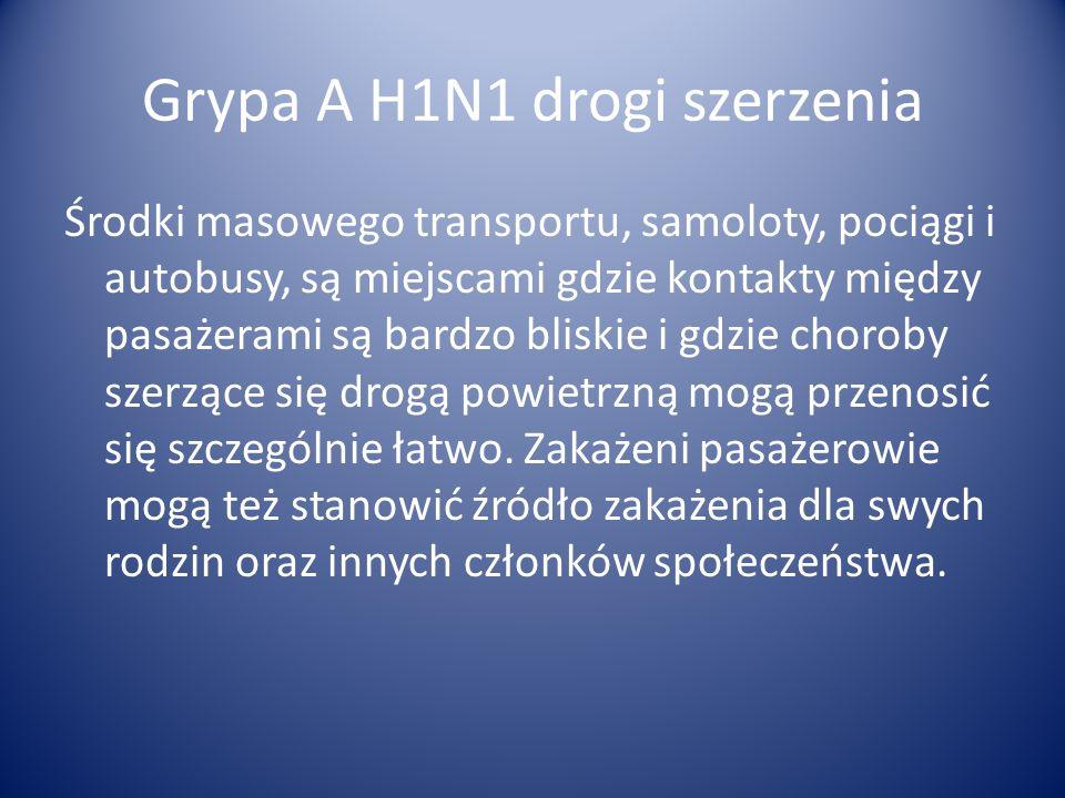 Grypa A H1N1 drogi szerzenia O zagrożeniu szerzeniem się zakażeń w środkach masowego transportu decyduje wysoka zaraźliwość grypy, warunki higieniczne podróży, oraz zagęszczenie pasażerów w zamkniętych pomieszczeniach.