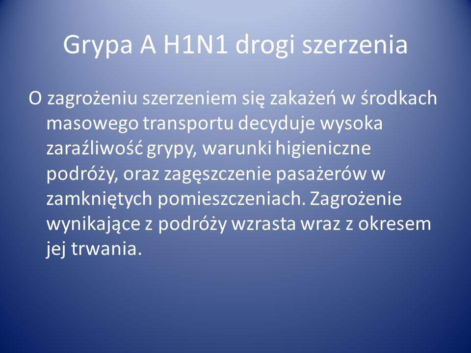 Grypa A H1N1 drogi szerzenia O zagrożeniu szerzeniem się zakażeń w środkach masowego transportu decyduje wysoka zaraźliwość grypy, warunki higieniczne