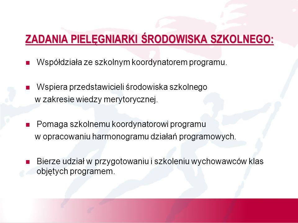 ZADANIA PIELĘGNIARKI ŚRODOWISKA SZKOLNEGO: Współdziała ze szkolnym koordynatorem programu. Wspiera przedstawicieli środowiska szkolnego w zakresie wie