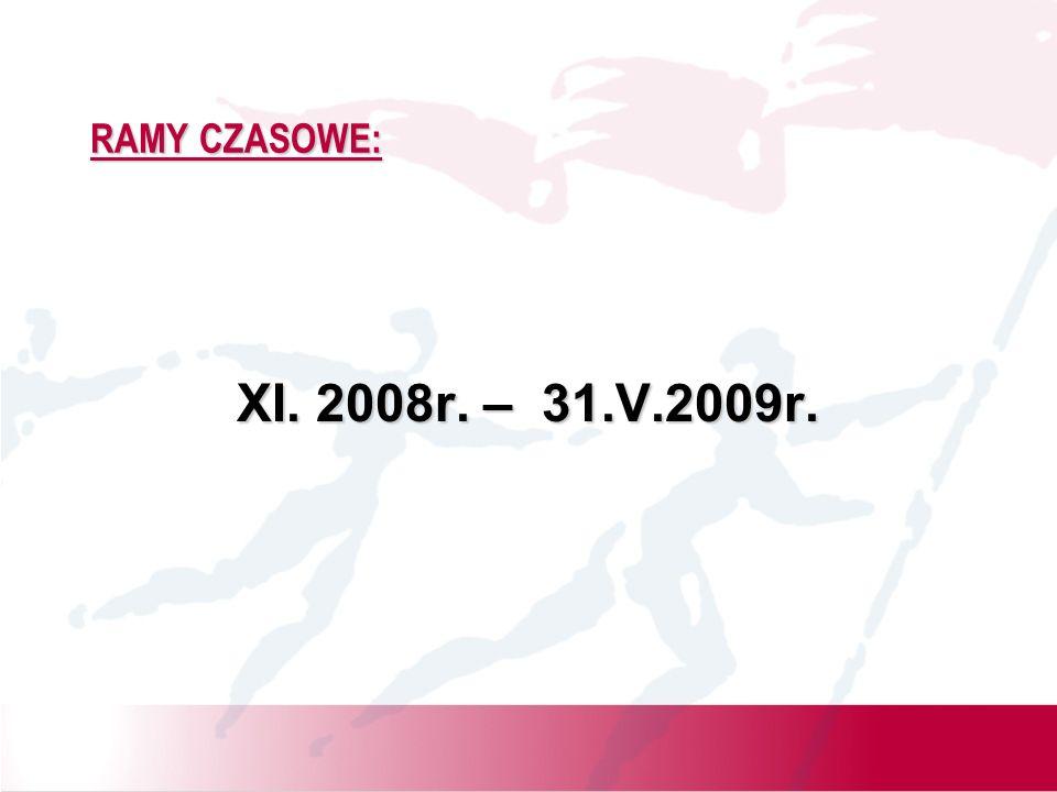 RAMY CZASOWE: XI. 2008r. – 31.V.2009r.