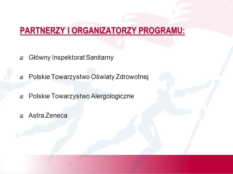 PARTNERZY I ORGANIZATORZY PROGRAMU: Główny Inspektorat Sanitarny Polskie Towarzystwo Oświaty Zdrowotnej Polskie Towarzystwo Alergologiczne Astra Zenec