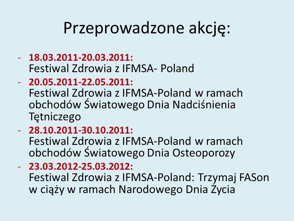 Przeprowadzone akcję: -18.03.2011-20.03.2011: Festiwal Zdrowia z IFMSA- Poland -20.05.2011-22.05.2011: Festiwal Zdrowia z IFMSA-Poland w ramach obchod