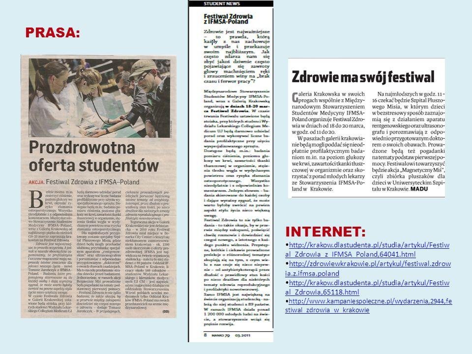 INTERNET: http://krakow.dlastudenta.pl/studia/artykul/Festiw al_Zdrowia_z_IFMSA_Poland,64041.htmlhttp://krakow.dlastudenta.pl/studia/artykul/Festiw al