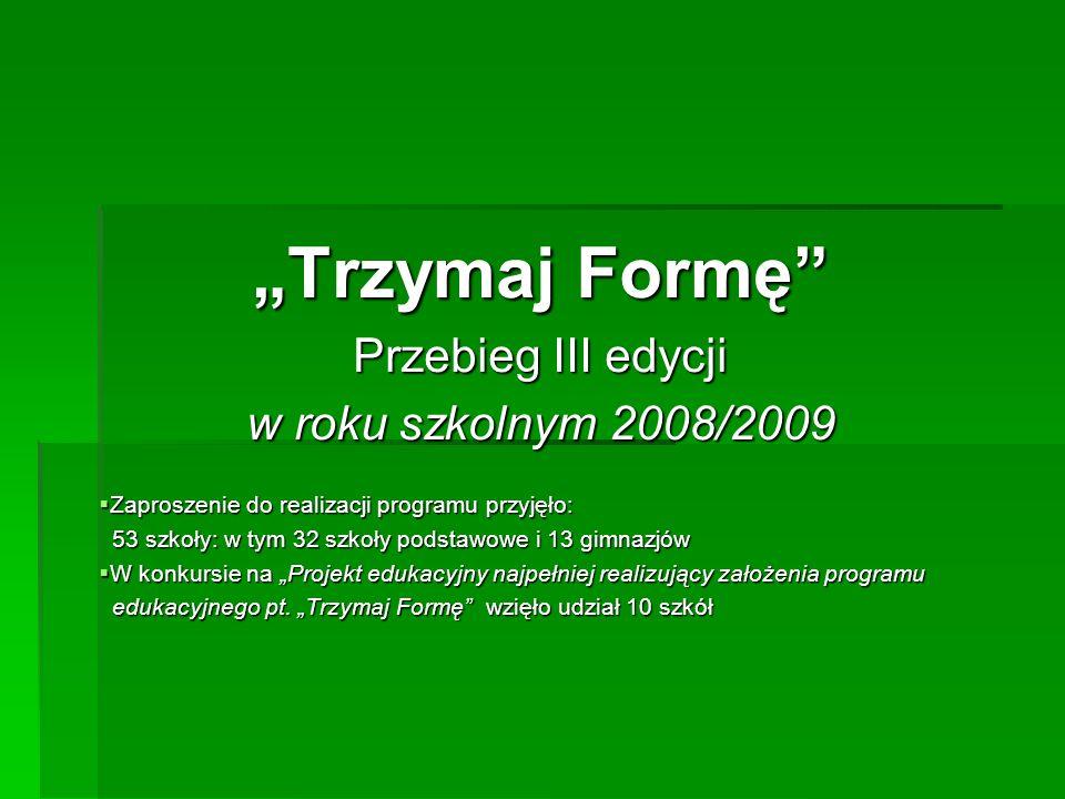 Trzymaj Formę Przebieg III edycji w roku szkolnym 2008/2009 Zaproszenie do realizacji programu przyjęło: Zaproszenie do realizacji programu przyjęło:
