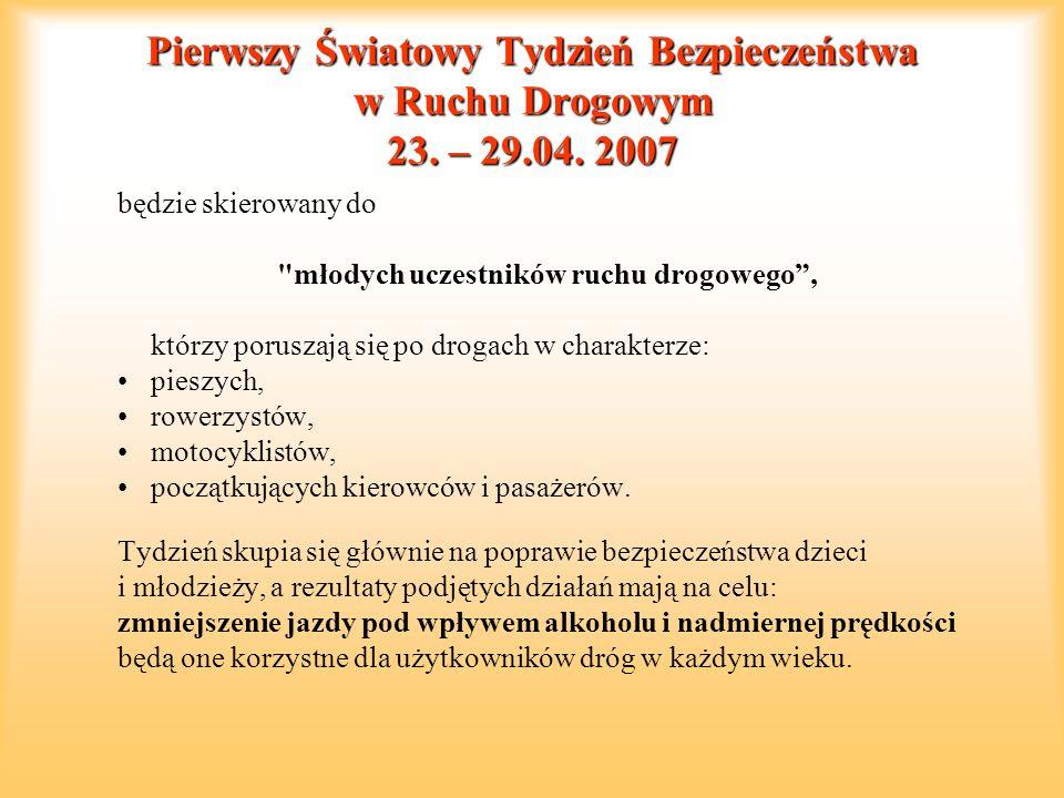 Pierwszy Światowy Tydzień Bezpieczeństwa w Ruchu Drogowym 23. – 29.04. 2007 będzie skierowany do