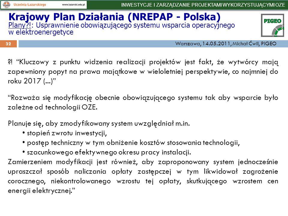 32 Krajowy Plan Działania (NREPAP - Polska) Plany !: Usprawnienie obowiązującego systemu wsparcia operacyjnego w elektroenergetyce .
