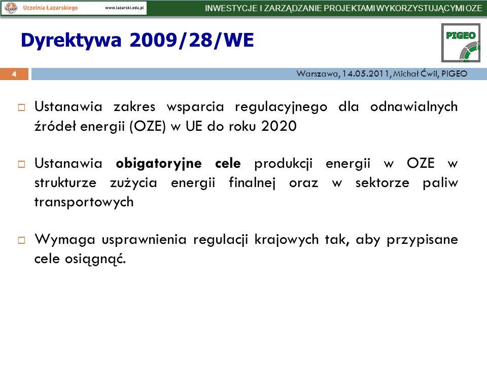 Ustanawia zakres wsparcia regulacyjnego dla odnawialnych źródeł energii (OZE) w UE do roku 2020 Ustanawia obigatoryjne cele produkcji energii w OZE w strukturze zużycia energii finalnej oraz w sektorze paliw transportowych Wymaga usprawnienia regulacji krajowych tak, aby przypisane cele osiągnąć.