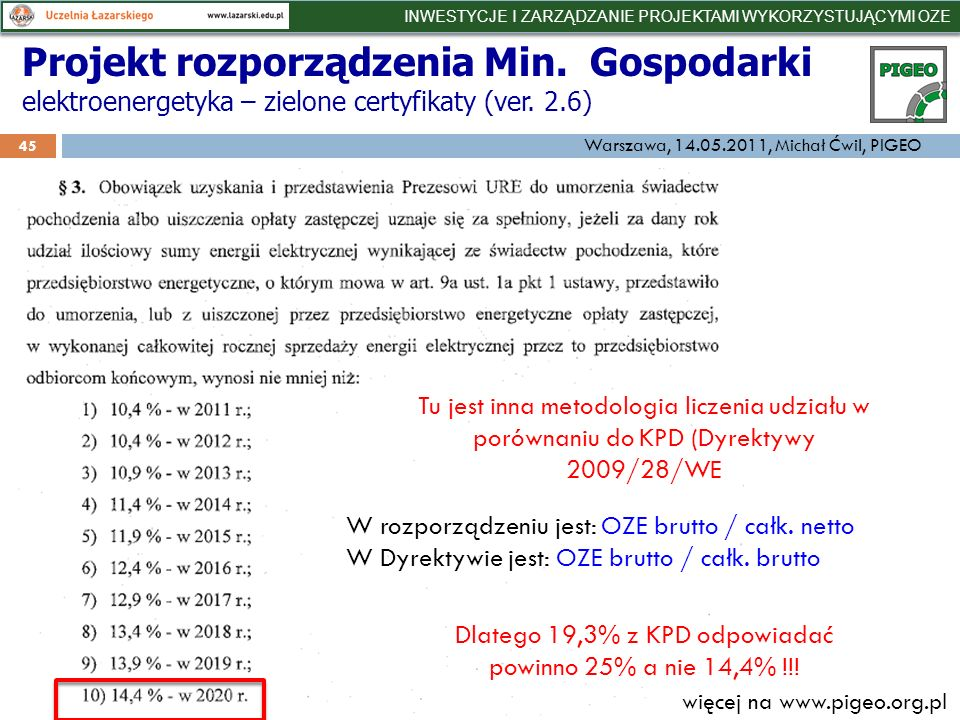 Projekt rozporządzenia Min. Gospodarki elektroenergetyka – zielone certyfikaty (ver.