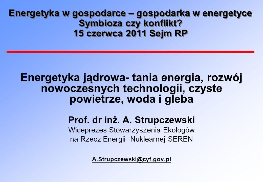 Dawki od elektrowni jądrowych mniejsze niż różnice tła promieniowania naturalnego Dawka od EJ – 0,01 mSv/rok Różnica tła promienio- wania między Krakowem a Wrocławiem- 0,39 mSv/rok