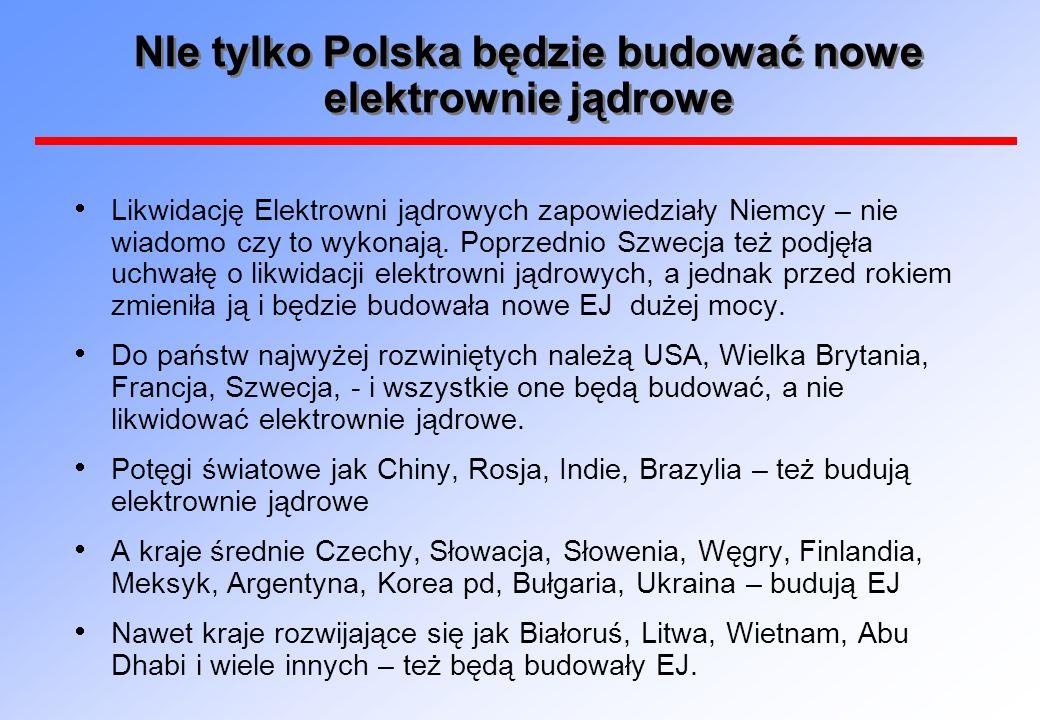 NIe tylko Polska będzie budować nowe elektrownie jądrowe Likwidację Elektrowni jądrowych zapowiedziały Niemcy – nie wiadomo czy to wykonają. Poprzedni