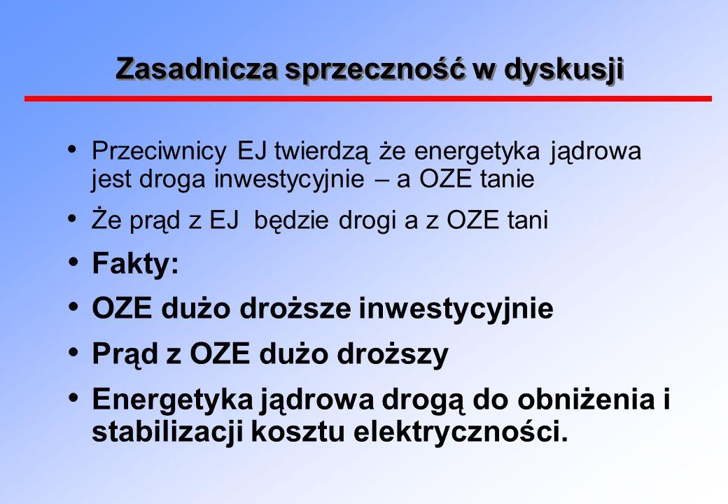Jeśli bez EJ – to dużo drożej Koszty rezygnacji z EJ dla Niemiec 48 mld USD plus koszty na OZE i na rozwój sieci.