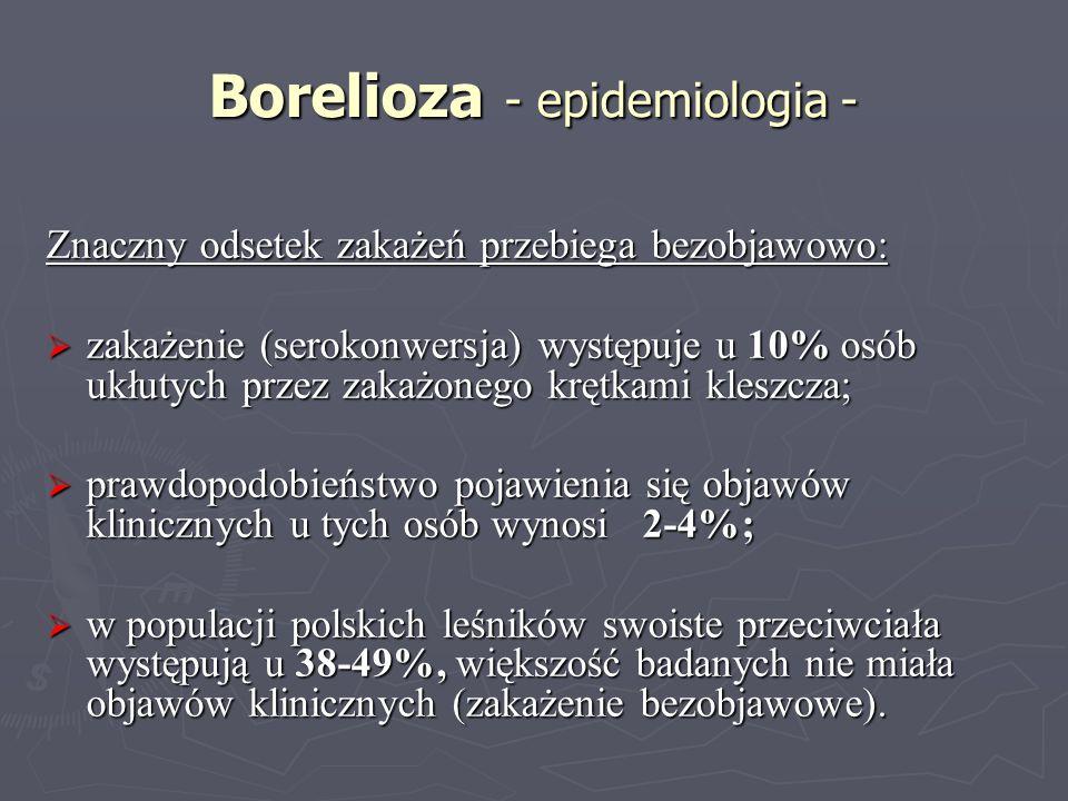 Borelioza - epidemiologia - Znaczny odsetek zakażeń przebiega bezobjawowo: zakażenie (serokonwersja) występuje u 10% osób ukłutych przez zakażonego kr