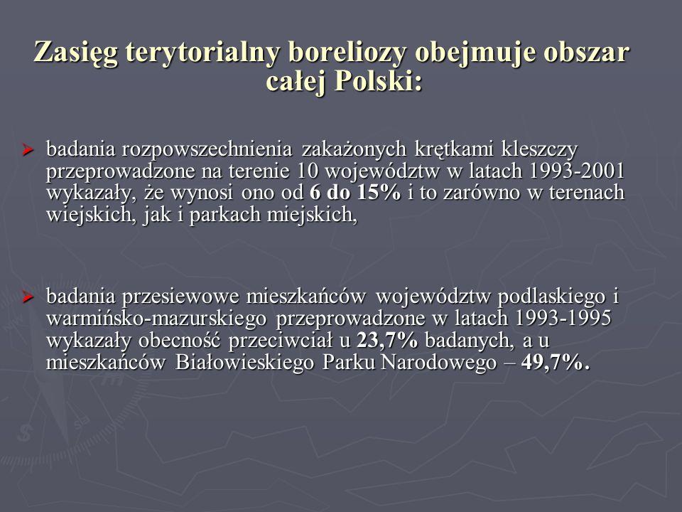 Zasięg terytorialny boreliozy obejmuje obszar całej Polski: badania rozpowszechnienia zakażonych krętkami kleszczy przeprowadzone na terenie 10 wojewó