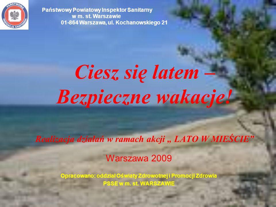 Ciesz się latem – Bezpieczne wakacje! Realizacja działań w ramach akcji LATO W MIEŚCIE Warszawa 2009 Opracowano: oddział Oświaty Zdrowotnej i Promocji