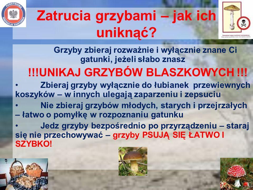 Zatrucia grzybami – jak ich uniknąć? Grzyby zbieraj rozważnie i wyłącznie znane Ci gatunki, jeżeli słabo znasz !!!UNIKAJ GRZYBÓW BLASZKOWYCH !!! Zbier