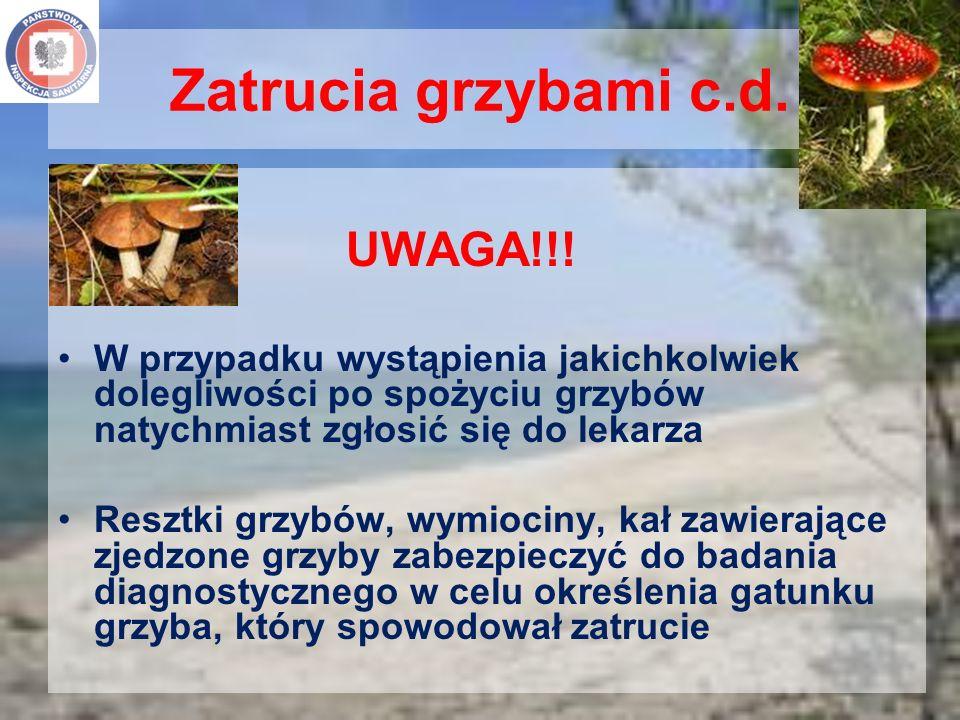 Zatrucia grzybami c.d. UWAGA!!! W przypadku wystąpienia jakichkolwiek dolegliwości po spożyciu grzybów natychmiast zgłosić się do lekarza Resztki grzy