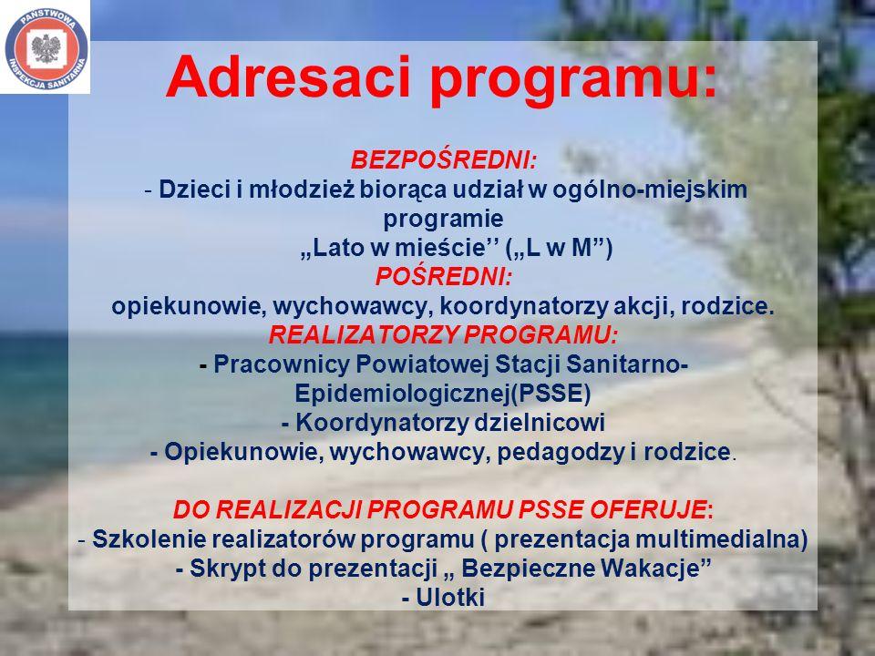 Adresaci programu: BEZPOŚREDNI: - Dzieci i młodzież biorąca udział w ogólno-miejskim programie Lato w mieście (L w M) POŚREDNI: opiekunowie, wychowawc