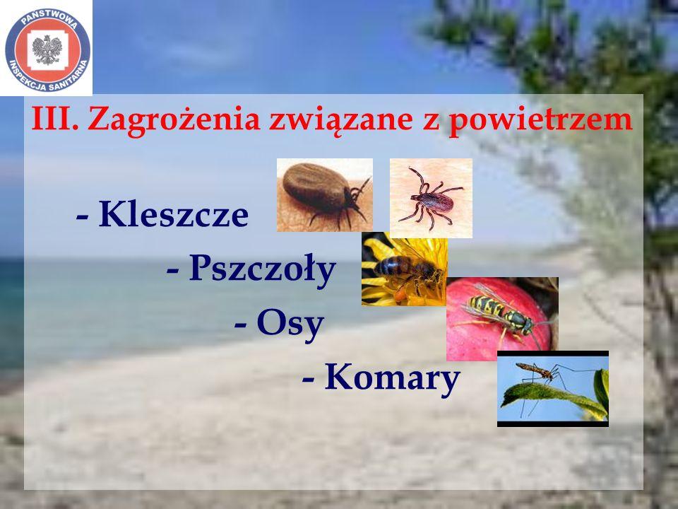 III. Zagrożenia związane z powietrzem - Kleszcze - Pszczoły - Osy - Komary