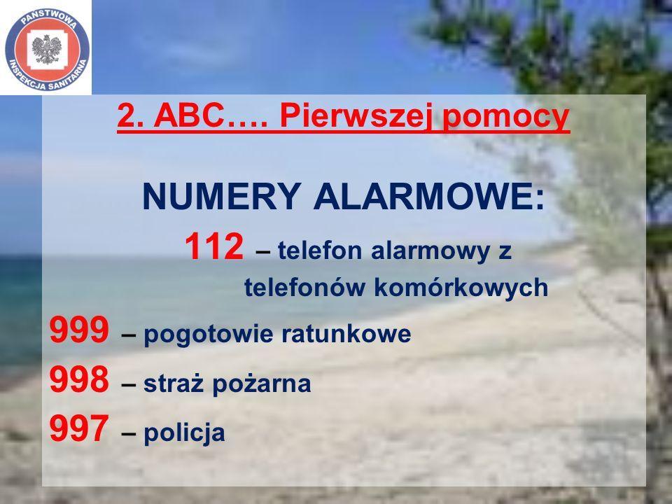 2. ABC…. Pierwszej pomocy NUMERY ALARMOWE: 112 – telefon alarmowy z telefonów komórkowych 999 – pogotowie ratunkowe 998 – straż pożarna 997 – policja