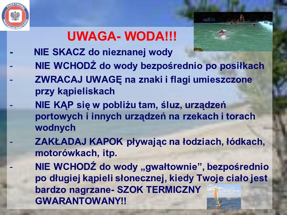 UWAGA- WODA!!! - NIE SKACZ do nieznanej wody -NIE WCHODŹ do wody bezpośrednio po posiłkach -ZWRACAJ UWAGĘ na znaki i flagi umieszczone przy kąpieliska