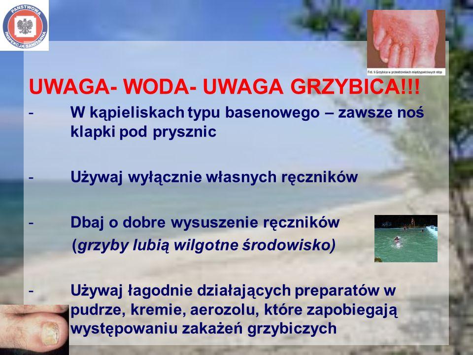 UWAGA- WODA- UWAGA GRZYBICA!!! -W kąpieliskach typu basenowego – zawsze noś klapki pod prysznic -Używaj wyłącznie własnych ręczników -Dbaj o dobre wys
