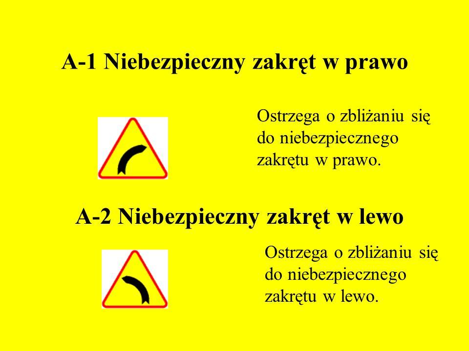 A-1 Niebezpieczny zakręt w prawo Ostrzega o zbliżaniu się do niebezpiecznego zakrętu w prawo.