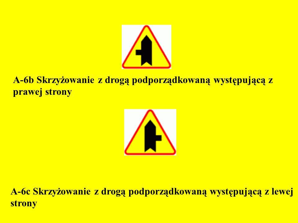 A-7 Ustąp pierwszeństwa przejazdu Znak ten ostrzega o zbliżaniu się do skrzyżowania, na którym z drogą z pierwszeństwem przejazdu krzyżuje się lub łączy droga podporządkowana (na której jest umieszczony znak).