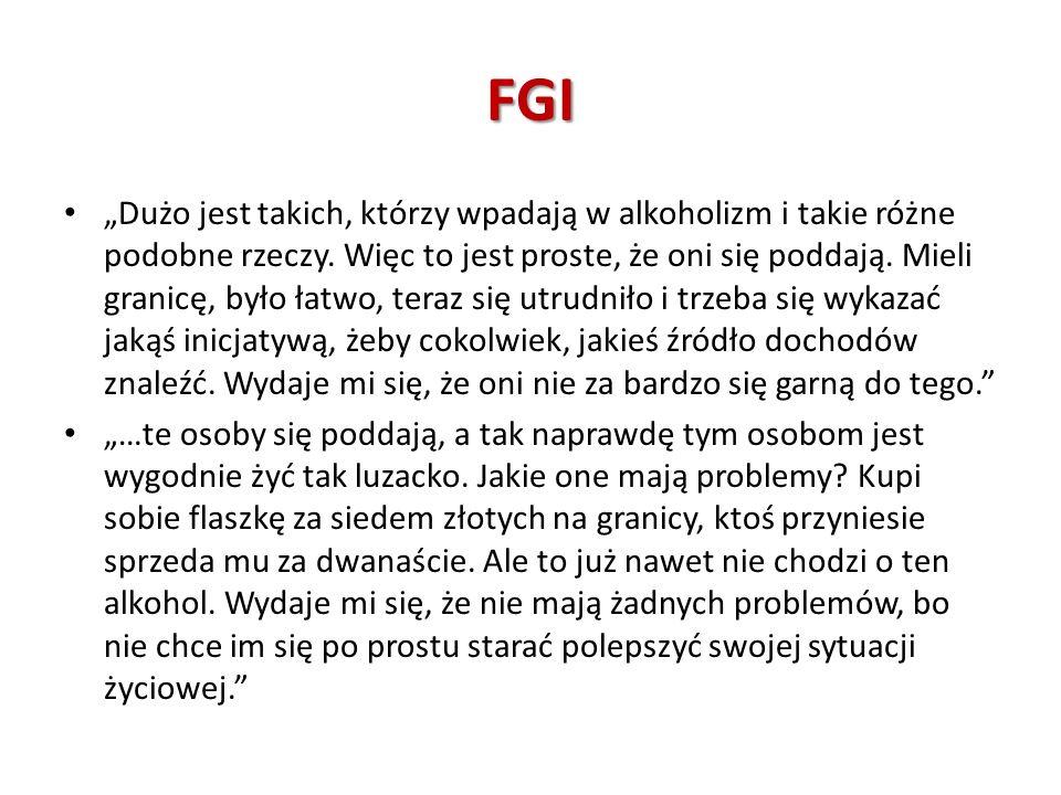 FGI Dużo jest takich, którzy wpadają w alkoholizm i takie różne podobne rzeczy. Więc to jest proste, że oni się poddają. Mieli granicę, było łatwo, te