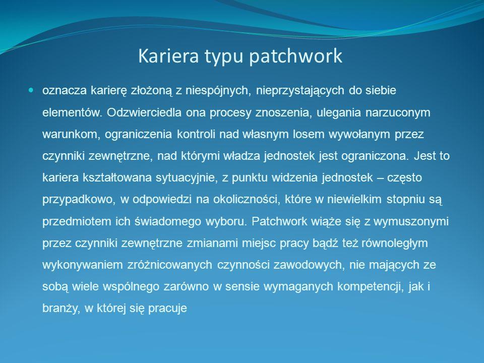 Kariera typu patchwork oznacza karierę złożoną z niespójnych, nieprzystających do siebie elementów. Odzwierciedla ona procesy znoszenia, ulegania narz