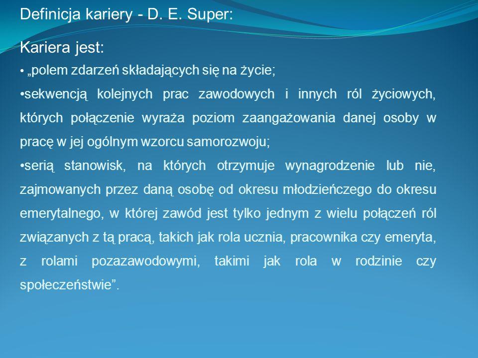 Definicja kariery - D. E. Super: Kariera jest: polem zdarzeń składających się na życie; sekwencją kolejnych prac zawodowych i innych ról życiowych, kt
