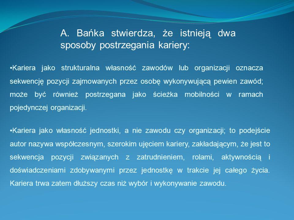 A. Bańka stwierdza, że istnieją dwa sposoby postrzegania kariery: Kariera jako strukturalna własność zawodów lub organizacji oznacza sekwencję pozycji