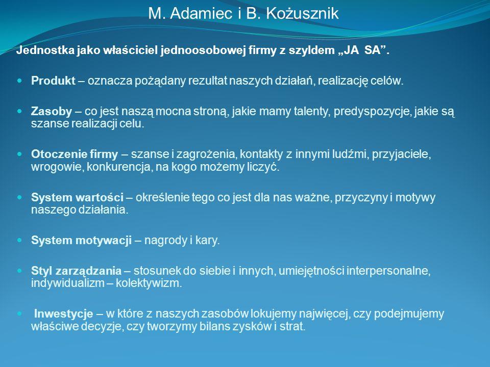 M. Adamiec i B. Kożusznik Jednostka jako właściciel jednoosobowej firmy z szyldem JA SA. Produkt – oznacza pożądany rezultat naszych działań, realizac