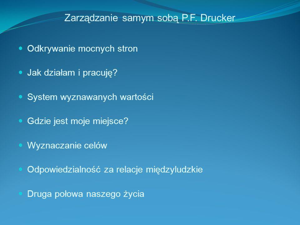 Zarządzanie samym sobą P.F. Drucker Odkrywanie mocnych stron Jak działam i pracuję? System wyznawanych wartości Gdzie jest moje miejsce? Wyznaczanie c