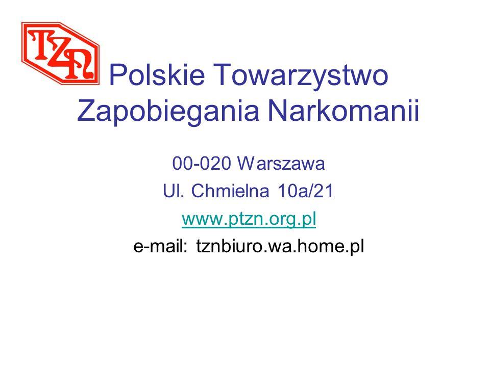 Polskie Towarzystwo Zapobiegania Narkomanii 00-020 Warszawa Ul. Chmielna 10a/21 www.ptzn.org.pl e-mail: tznbiuro.wa.home.pl