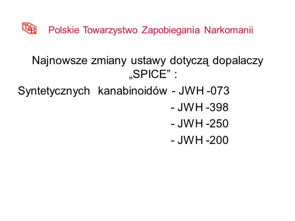 Najnowsze zmiany ustawy dotyczą dopalaczy SPICE : Syntetycznych kanabinoidów - JWH -073 - JWH -398 - JWH -250 - JWH -200 Polskie Towarzystwo Zapobiega