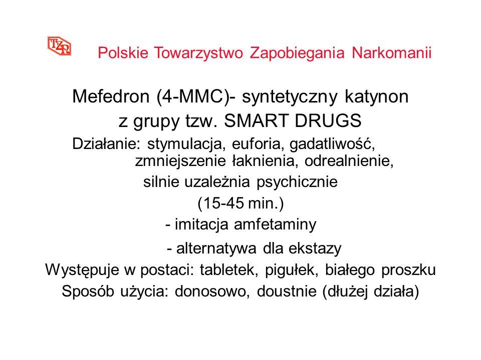 Mefedron (4-MMC)- syntetyczny katynon z grupy tzw. SMART DRUGS Działanie: stymulacja, euforia, gadatliwość, zmniejszenie łaknienia, odrealnienie, siln