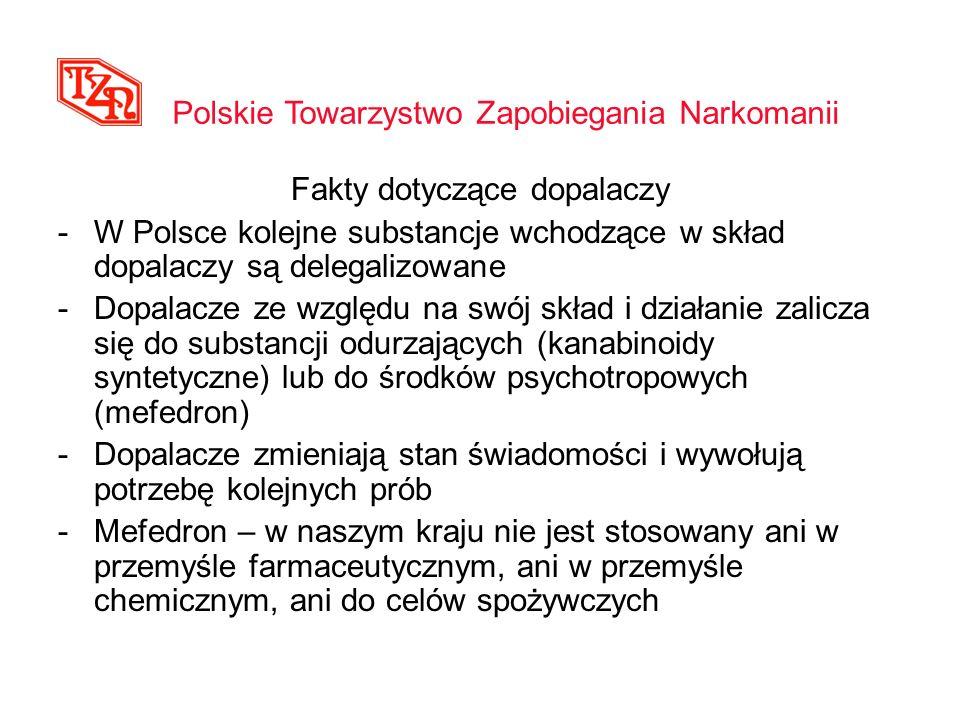 Fakty dotyczące dopalaczy -W Polsce kolejne substancje wchodzące w skład dopalaczy są delegalizowane -Dopalacze ze względu na swój skład i działanie z