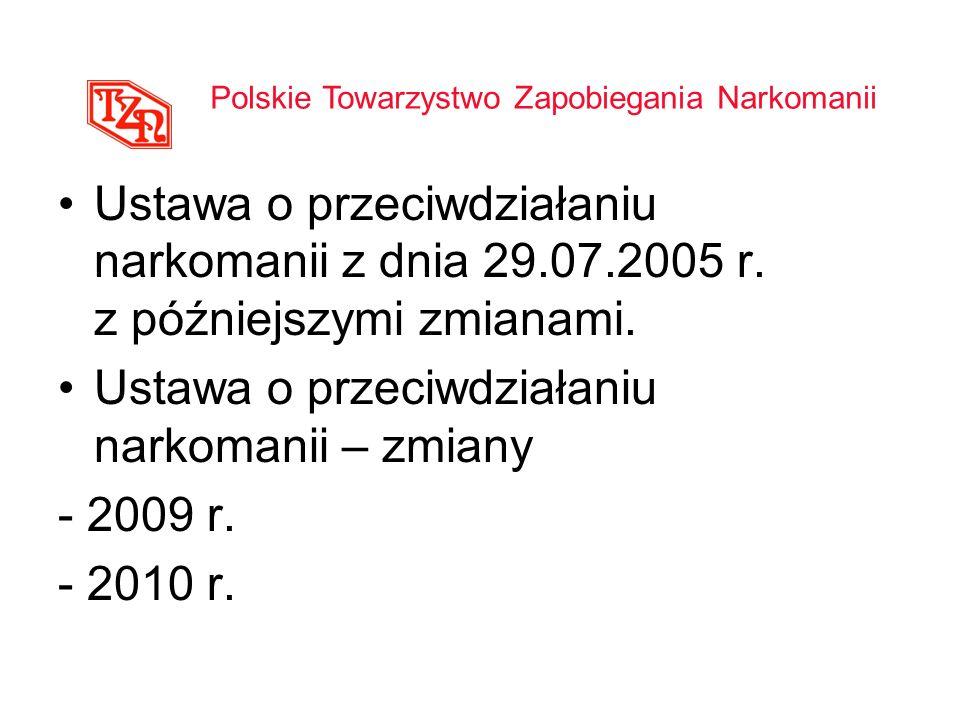 Ustawa o przeciwdziałaniu narkomanii z dnia 29.07.2005 r. z późniejszymi zmianami. Ustawa o przeciwdziałaniu narkomanii – zmiany - 2009 r. - 2010 r. P