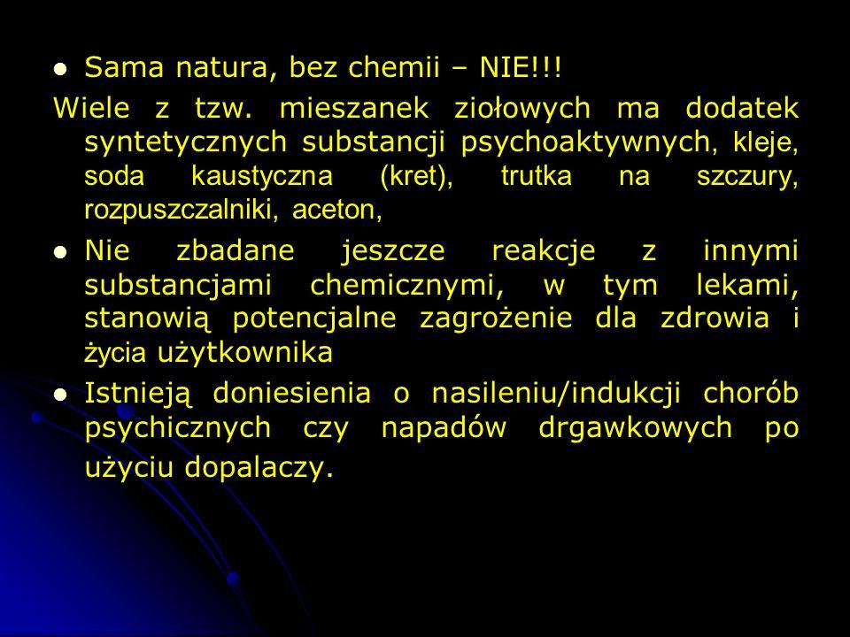 Sama natura, bez chemii – NIE!!! Wiele z tzw. mieszanek ziołowych ma dodatek syntetycznych substancji psychoaktywnych, kleje, soda kaustyczna (kret),