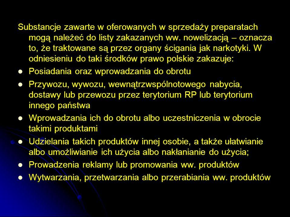 Substancje zawarte w oferowanych w sprzedaży preparatach mogą należeć do listy zakazanych ww. nowelizacją – oznacza to, że traktowane są przez organy