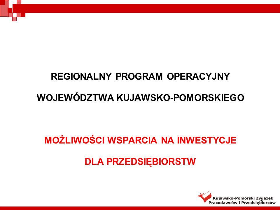 2 Regionalny Program Operacyjny Województwa Kujawsko-Pomorskiego Cel główny: Stworzenie warunków dla poprawy konkurencyjności województwa oraz spójności społeczno-gospodarczej i przestrzennej jego obszaru.