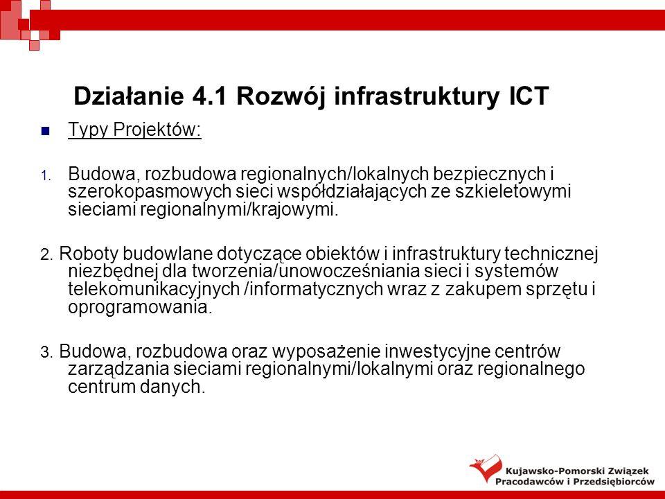 Działanie 4.1 Rozwój infrastruktury ICT Typy Projektów: 1.