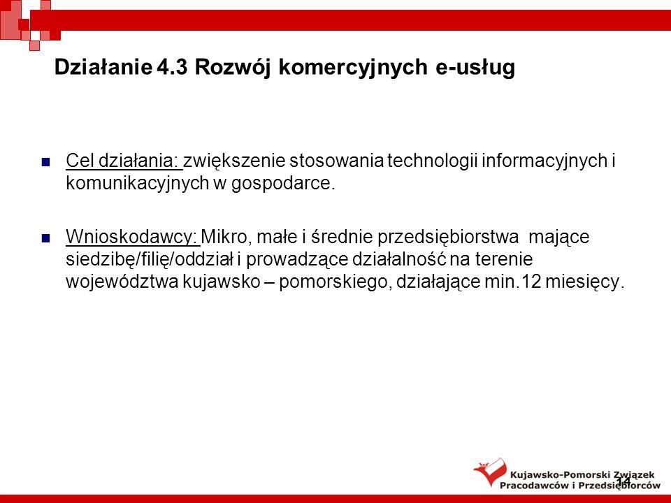 Działanie 4.3 Rozwój komercyjnych e-usług Cel działania: zwiększenie stosowania technologii informacyjnych i komunikacyjnych w gospodarce.