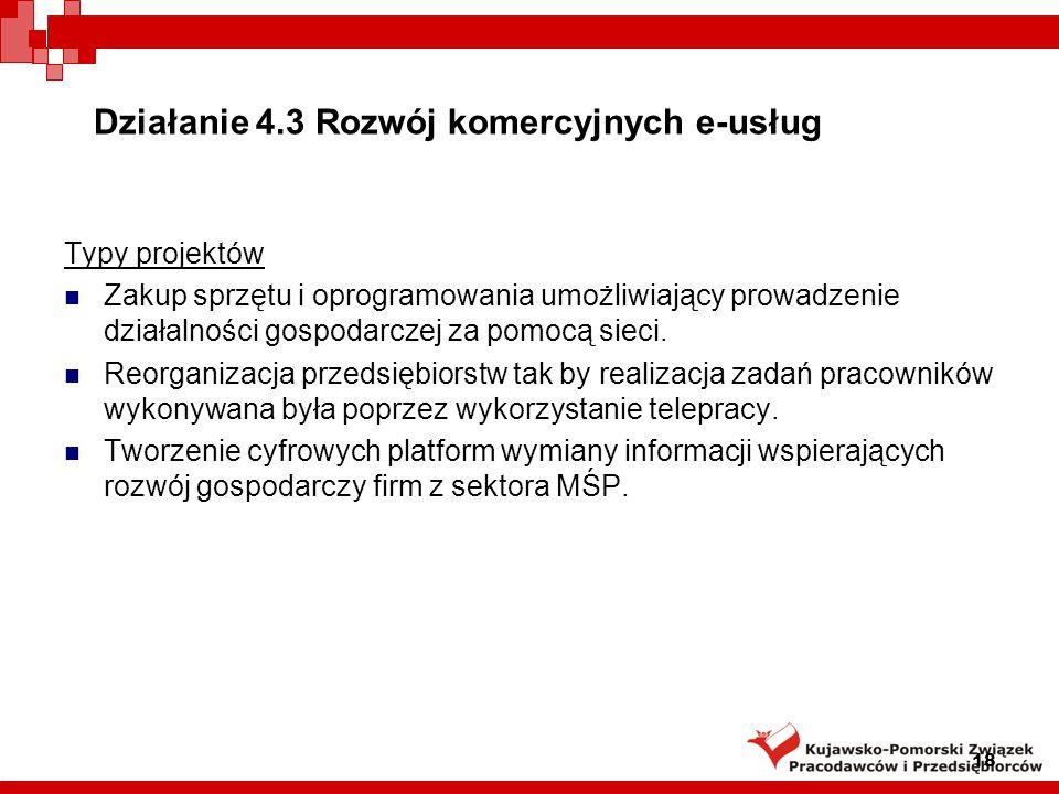 Typy projektów Zakup sprzętu i oprogramowania umożliwiający prowadzenie działalności gospodarczej za pomocą sieci.