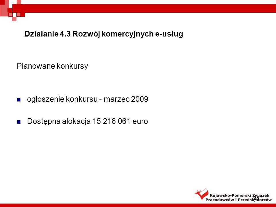 Działanie 4.3 Rozwój komercyjnych e-usług Planowane konkursy ogłoszenie konkursu - marzec 2009 Dostępna alokacja 15 216 061 euro 21