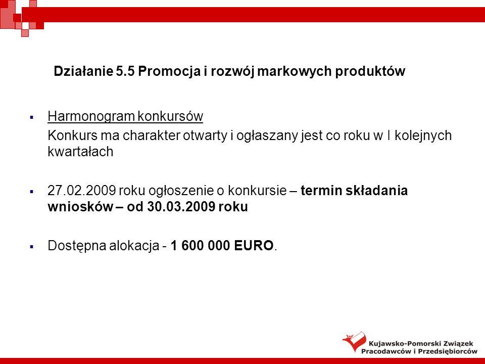 Harmonogram konkursów Konkurs ma charakter otwarty i ogłaszany jest co roku w I kolejnych kwartałach 27.02.2009 roku ogłoszenie o konkursie – termin składania wniosków – od 30.03.2009 roku Dostępna alokacja - 1 600 000 EURO.