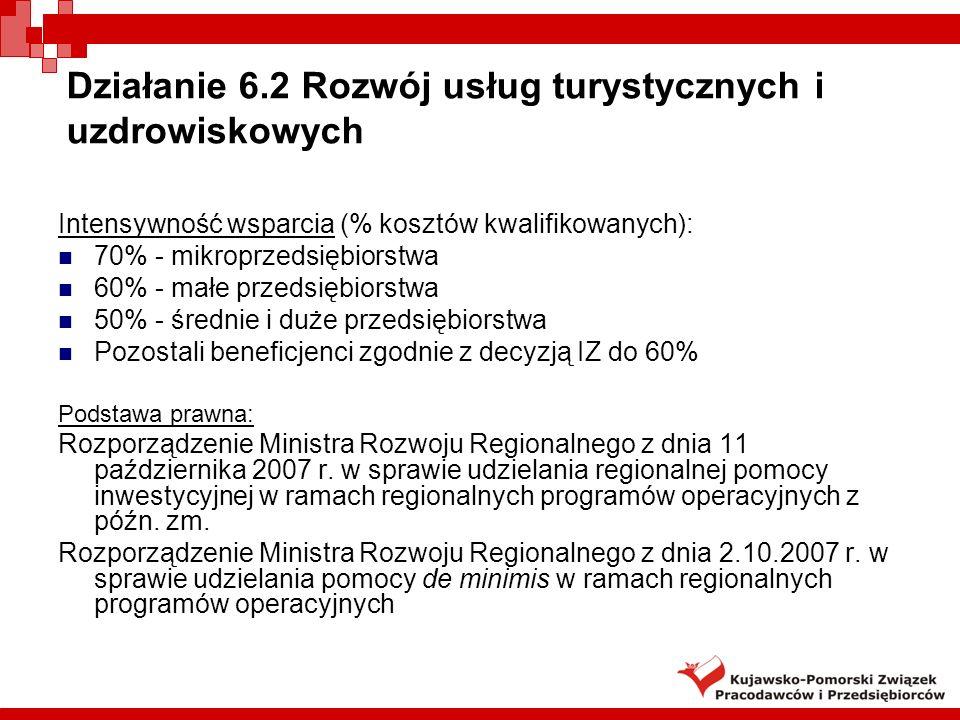 Działanie 6.2 Rozwój usług turystycznych i uzdrowiskowych Intensywność wsparcia (% kosztów kwalifikowanych): 70% - mikroprzedsiębiorstwa 60% - małe przedsiębiorstwa 50% - średnie i duże przedsiębiorstwa Pozostali beneficjenci zgodnie z decyzją IZ do 60% Podstawa prawna: Rozporządzenie Ministra Rozwoju Regionalnego z dnia 11 października 2007 r.