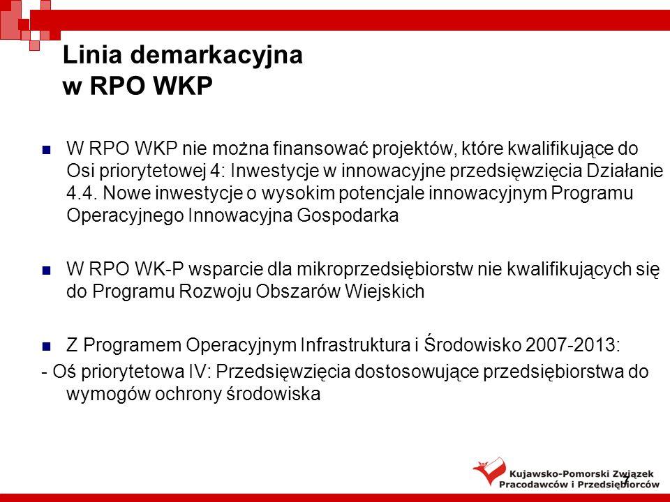 7 Linia demarkacyjna w RPO WKP W RPO WKP nie można finansować projektów, które kwalifikujące do Osi priorytetowej 4: Inwestycje w innowacyjne przedsięwzięcia Działanie 4.4.