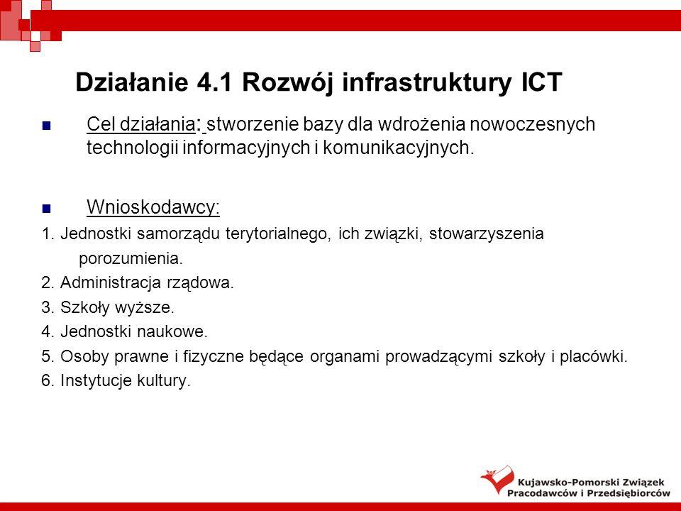 Działanie 4.1 Rozwój infrastruktury ICT Cel działania : stworzenie bazy dla wdrożenia nowoczesnych technologii informacyjnych i komunikacyjnych.
